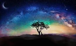 Girl silhouette, meditation under stars, milky way