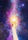 Flower of life symbol, sacred geometry, infinite love portal, life soul journey through abstract Universe doorway
