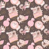 Cute dogs love sweets. Pink girly seamless pattern. Chocolate background