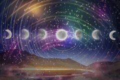 Moon phases, lunar cycle in night sky, time-lapse concept