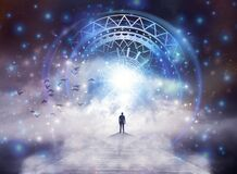 Flower of life symbol, portal, life soul journey through abstract Universe doorway