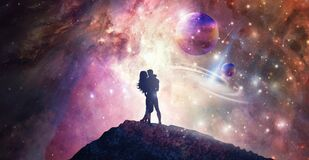 Human male, female bodies, Universe Inspiration Enlightenment Unity consciousness, twin flames, cosmic lovers