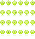 Web 2.0 aqua icons. Web 2.0 round button icons with reflection - come in 4 colors : Yellow, Blue, Pink and Green and different shapes vector illustration