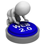 Web 2.0 Button Means Website Platform And Type Stock Image