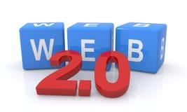 Web 2.0 cubi della lettera Immagini Stock