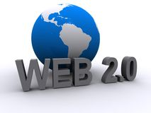 Web 2.0 and globe. A design for Web 2.0 and a globe Stock Image