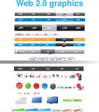 Web 2.0 graphics. Nine designed homepage menus and icons Royalty Free Stock Image