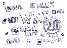 Web 2.0 krabbels Royalty-vrije Stock Foto's