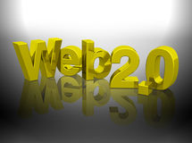 Web 2.0 letras do ouro 3D Fotos de Stock