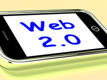 Web 2.0 On Phone Means Net Web Technology And Network Stock Photography