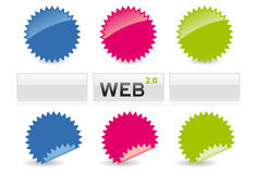 Web 2.0 Stickers and Buttons. Various coloured and shaped sticky seals and buttons Royalty Free Stock Image