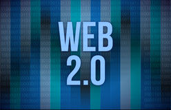 Web 2.0 text on a binary code Stock Photo