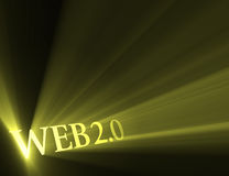 Web 2.0 version sign shining light flare stock photo