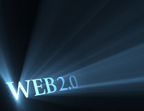 Web 2.0 version sign shining light flare. Web 2.0 symbol (new era / trend of internet) with powerful blue light halo. Extended flares for cropping