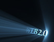 Web 2.0 version sign light flare Royalty Free Stock Image