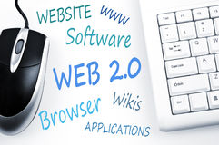 Web 2.0 word scheme and computer keyboard. On white Stock Photos