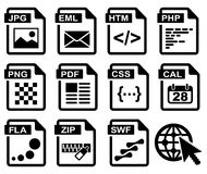 Web. File type icons: web set. All white areas are cut away from icons and black areas merged