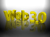 Web 3.0 3D gold shiny word Royalty Free Stock Photos