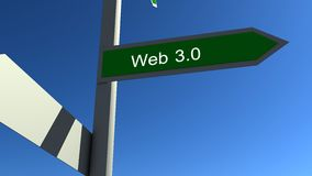 Web 3.0 sign. Web 3.0 arrow sign with blue sky Royalty Free Stock Photography