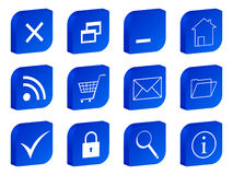 Web 3d icon blue Royalty Free Stock Photos