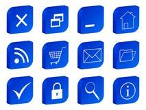 Web 3d icon blue. 3D blue icon set. Vector illustration Royalty Free Stock Photos