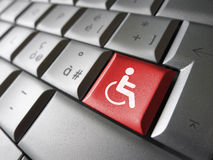 Web Accessibility Icon Symbol. Web content accessibility concept with wheelchair icon and symbol on a red computer key for blog and online business Stock Photo