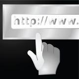 Web address. Concept illustration of a glossy hand approaching a URL Web address bar vector illustration