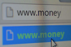 Web Address. A macro shot of a computer screen showing a web address to money Royalty Free Stock Photos