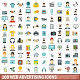100 web advertising icons set, flat style. 100 web advertising icons set in flat style for any design vector illustration Stock Photos