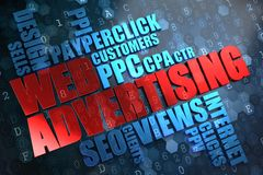 WEB Advertising. Wordcloud Concept. Royalty Free Stock Images