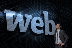 Web against futuristic black and blue background Stock Image
