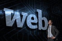 Web against futuristic black and blue background Stock Image