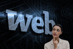 Web against futuristic black and blue background Stock Photos