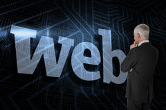 Web against futuristic black and blue background Royalty Free Stock Photos