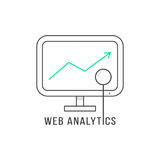 Web analytics with black thin line pc Royalty Free Stock Photo