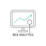 Web analytics with black thin line pc Royalty Free Stock Photo