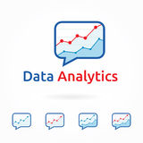 Web analytics, business marketing logo template. Web analytics logo template, business and marketing theme, vector illustration, chart icon in flat style. Blue Royalty Free Stock Images