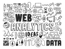 Web analytics doodle elements. Hand drawn vector illustration icons set of web analytics and ideas in optimization of website search information doodles elements Stock Image
