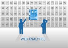 Web analytics  illustration with dashboard Stock Photography