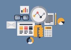 Web analytics illustration. Flat design vector illustration icons set of web analytics information and development website statistic. Isolated on dark blue Stock Photos
