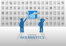 Web analytics  illustration with two data analysts. Online data analysis of social media data, mobile data, location data Royalty Free Stock Photo