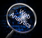 Web Analytics Indicates Magnifier Magnify And Report. Web Analytics Showing Website Collection And Optimize Royalty Free Stock Images