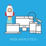 Web analytics information and website development flat concept background Stock Image
