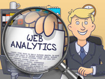 Web Analytics through Magnifier. Doodle Style. Stock Image
