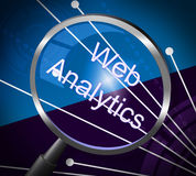 Web Analytics Means Magnifying Research And Information Stock Image