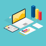 Web of analytics process with claptop and development website st Royalty Free Stock Image