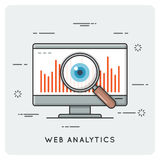 Web analytics. Thin line concept. Vector illustration Royalty Free Stock Photography