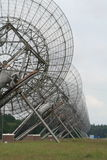 Web of antennas. The Westerbork Synthesis Radio Telescope (WSRT) (near camp Westerbork, north of the village of Westerbork, Midden-Drenthe, in the northeastern Stock Photo