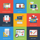 Web app development flat style modern icon set Royalty Free Stock Images