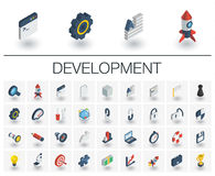 Web and App development isometric icons. 3d vector. Isometric flat icon set. 3d vector colorful illustration with web and app development symbols. Digital Stock Images